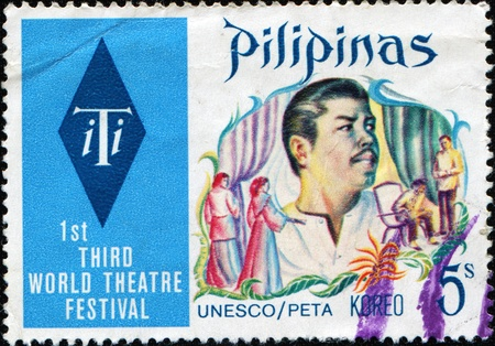 third world: PHILIPPINES - CIRCA 1973:  A stamp printed in Philippines devoted  1st Third World Theatre Festival, circa 1973