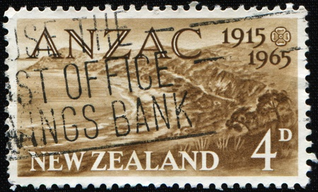 anzac: NEW ZEALAND - CIRCA 1965: A stamp printed in New Zealand honoring Anzac Day, circa 1965
