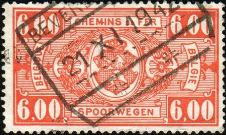 BELGIUM - CIRCA 1942: A stamp printed in Belgium shows Belgian coat of arms, circa 1942 Stock Photo - 8500314