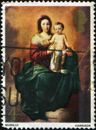 murillo: GREAT BRITAIN - CIRCA 1967 : A stamp printed by Great Britain shows draw Virgin and Child by Murillo , circa 1967  Stock Photo