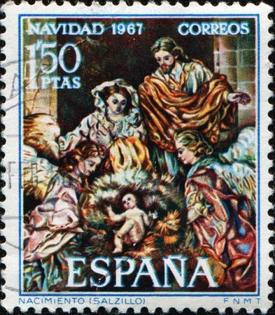 nacimiento de jesus: Espa�a - CIRCA 1967: Un sello impreso en Espa�a muestra luz de Jes�s por Salzillo, alrededor de 1967