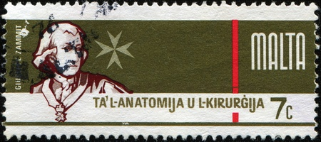 renowned: MALTA - CIRCA 1976: A stamp printed in Malta dedicated to the tercentenary foundation of the School of Anatomy and Surgery in Valletta shows Sir Themistocles (Temi) Zammit (1864 - 1935) - an internationally renowned Maltese archaeologist, historian, write