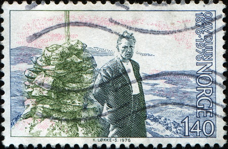 noteworthy: NORWAY - CIRCA 1976: A stamp printed in Norway showsOlav Duun (November 21, 1876 � September 13, 1939) was a noteworthy author of Norwegian fiction, circa 1976