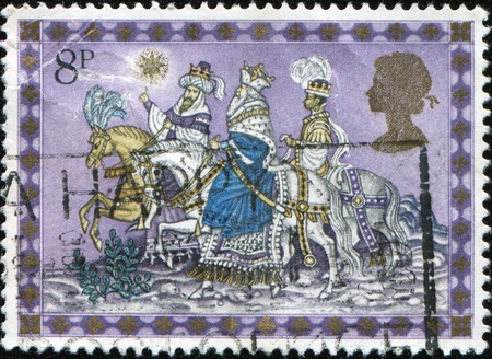 UNITED KINGDOM - CIRCA 1979: A British Used Christmas Postage Stamp showing The Three Kings, circa 1979 Stock Photo - 8504440