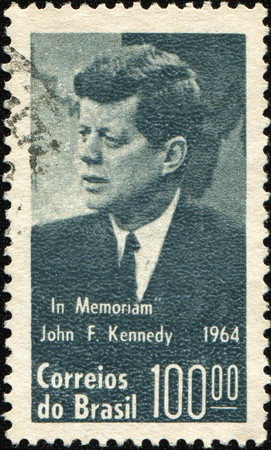 kennedy: BRASIL - CIRCA 1964: A stamp printed in the Brasil shows  US President John F. Kennedy, series, circa 1964 Editorial