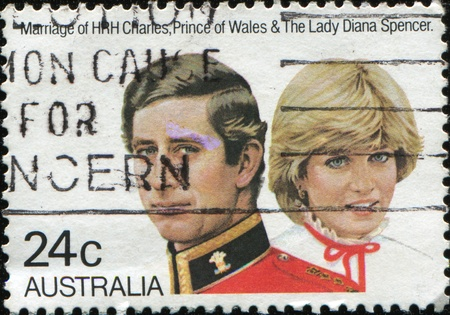AUSTRALIA - CIRCA 1981: stamp printed by Australia, shows Prince Charles and Lady Diana, circa 1981  Stock Photo - 8504434