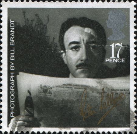 UNITED KINGDOM - CIRCA 1985: A stamp printed in United Kingdom shows Peter Sellers - Photograph by Bill Brandt, series British Films, circa 1985 Stock Photo - 8523861