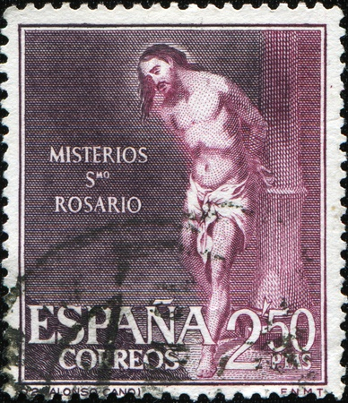 cano: SPAIN - CIRCA 1962: A stamp printed in Spain shows draw by Alonso Cano Mysteries St. Rosario, circa 1962