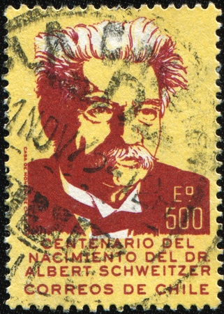 theologian: CHILE - CIRCA 1975: A stamp printed in Chile shows Albert Schweitzer was an Alsatian German-French theologian, musician, philosopher, and physician, circa 1975