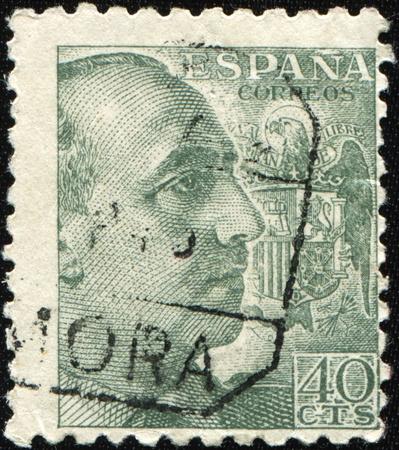 dictator: SPAIN-CIRCA 1957: A stamp shows image portrait Francisco Paulino Hermenegildo Teodulo Franco y Bahamonde Salgado Pardo de Andrade,commonly known as Franco, was general and dictator, circa 1957 Stock Photo