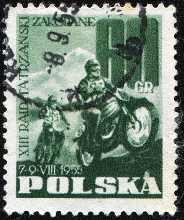 POLAND - CIRCA 1955: A stamp printed in Poland shows motocross, circa 1955 Stock Photo - 8523920