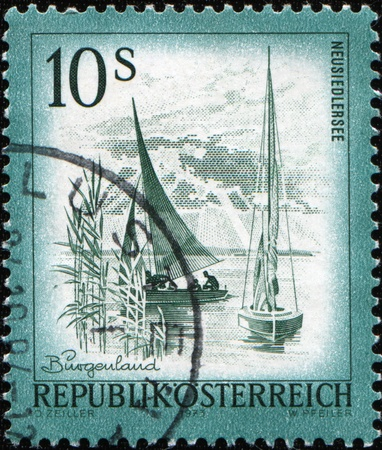 AUSTRIA - CIRCA 1973: stamp printed by Austria, shows yaghts on Neusiedlersee, Burgenland, circa 1973 Stock Photo - 8578357