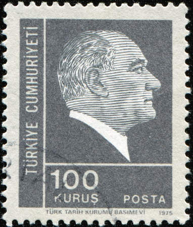 kemal: TURKEY-CIRCA 1975: A stamp shows image portrait Mustafa Kemal Ataturk was a Turkish, statesman, writer, and founder of the Republic of Turkey, as well as the first Turkish President, circa 1975 Stock Photo