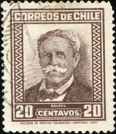 CHILE - CIRCA 1911: A stamp printed in Chile shows Manuel Bulnes Prieto was a Chilean military and political figure, he was twice President of Chile, circa 1911 Stock Photo - 8578376