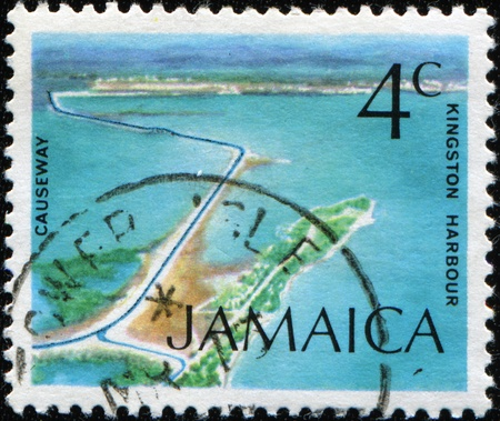 kingston: JAMAICA - CIRCA 1972: A stamp printed in JAMAICA shows Causeway, Kingston Harbor, circa 1972 Stock Photo