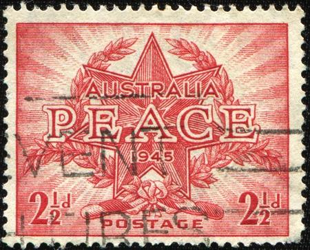 AUSTRALIA - CIRCA 1945: Australian postage stamp depicting victory in World War II, circa 1945  photo