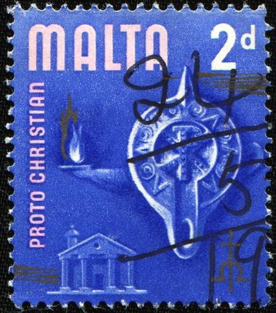 proto: MALTA - CIRCA 1965: A stamp printed in Malta honoring Proto Christian Era, circa 1965