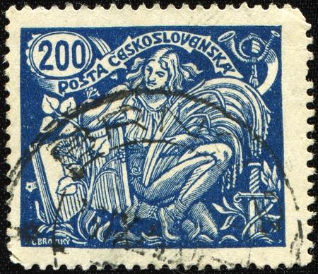 czechoslovakia: CZECHOSLOVAKIA - CIRCA czechoslovakia stamp woman: stamp printed by Czechoslovakia, shows Farm woman, date unknown