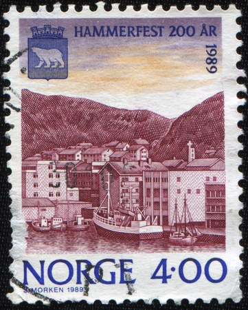NORWAY - CIRCA 1989: A stamp printed in Norway shows Hammerfest, circa 1989 photo