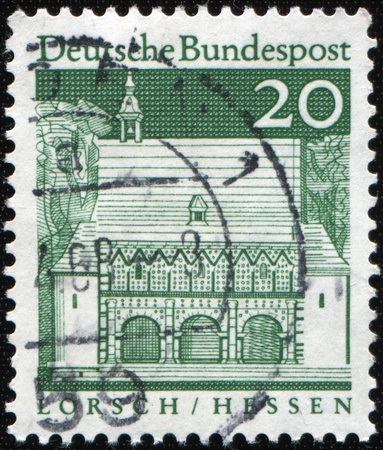 west of germany: WEST GERMANY - CIRCA 1968: A stamp printed in West Germany shows Abbey Lorsch (Hesse) was established, the larger estates and churches in the country had Neckar,  circa 1968