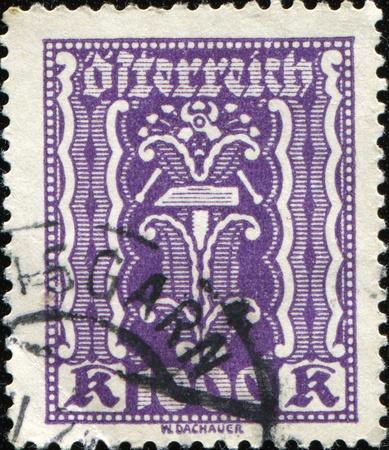 AUSTRIA - CIRCA 1922: Postage stamps issued in the First Austrian Republic. Design of stamp designed by Austrian artist Wilhelm Dachauer, circa 1922 Stock Photo - 8681942