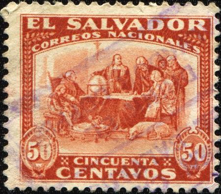 colonizer: SALVADOR - CIRCA 1892: A stamp printed in Salvador shows draw by Izquierdo C rislobal Columbus before Domicians in Salamanka, circa 1892