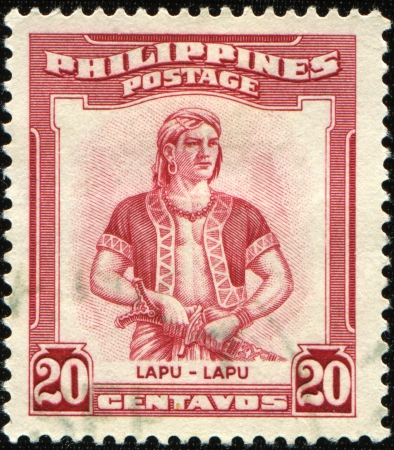 PHILIPPINES - CIRCA 1970: A stamp printed in Philippines shows  Lapu-Lapu (1491-1542) was the datu of Mactan, an island in the Visayas in the Philippines, circa 1970 Imagens