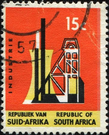 SOUTH AFRICA - CIRCA 1957: A stamp printed in South Africa devoted mining industry - shaft tower, circa 1957 Stock Photo - 8681929