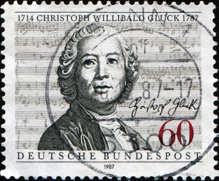 melodist: GERMANY - CIRCA 1987: A stamp printed in Germany shows  Christoph Willibald Gluck, circa 1987