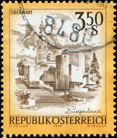 AUSTRIA - CIRCA 1978: A stamp printed in Austria shows Roman Catholic Parish Church in Oberwart, Burgerland, circa 1978 Stock Photo - 8681983