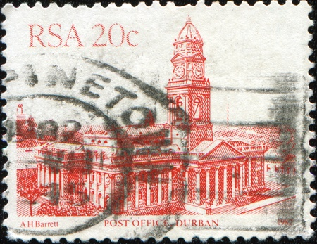 SOUTH AFRICA - CIRCA 1982: A stamp printed in South Africa shows the post office building in Durban, series, circa 1982  Stock Photo - 8681972