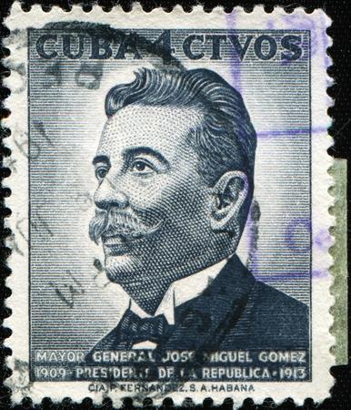 CUBA - CIRCA 1937: A stamp printed in Cuba shows President of Cuba Mayor Jose Miguel Gomes, circa 1937 Stock Photo - 8681987