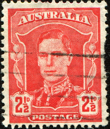 AUSTRALIA - CIRCA 1942: An Australian Used Postage Stamp showing King George VI, circa 1942  photo