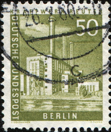 BERLIN - CIRCA 1956: A stamp printed by German Federal Mail of Berlin shows Kraftwerk Reuter, series Pictures of Berlin, circa 1956 photo