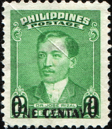 unc: PHILIPPIES - CIRCA 1941: A stamp printed in the Philippines shows iamge of Dr Jose Rizal, series, circa 1941  Editorial