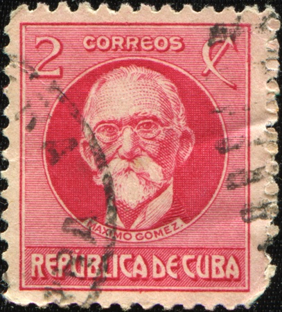 gomez: CUBA - CIRCA 1926: A stamp printed in Cuba shows Maximo Gomez, Cubas Military Commander in the Cuban War of Independence, circa 1926 Stock Photo