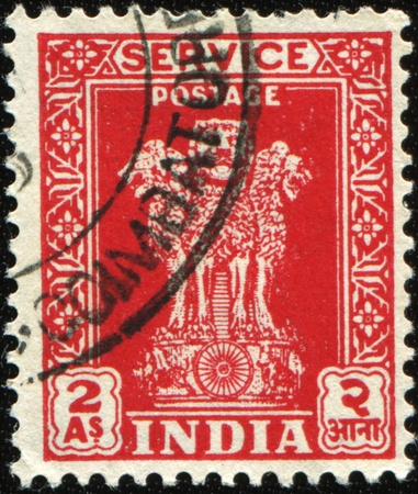 sarnath: INDIA - CIRCA 1950: A stamp printed in India shows INDIA - CIRCA 1950: A stamp printed in India shows Ashokan Lions, circa 1950 , circa 1950