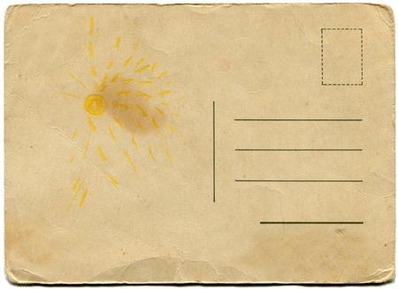 dos d'une carte postale antique isolé sur blanc