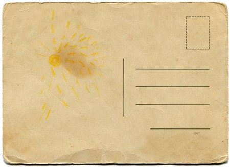 back side of an antique post card isolated on white  Foto de archivo
