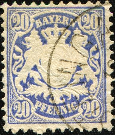 bayern: BAYERN - CIRCA 1867: A stamp printed in Bayern shows Bayern coat of arms, circa 1867