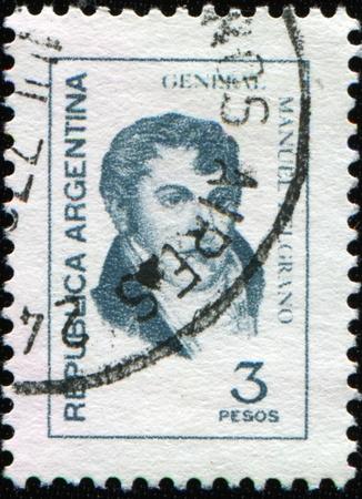corazon: ARGENTINA - CIRCA 1961: A stamp shows image portrait Manuel Jose Joaquin del Corazon de Jesus Belgrano, was an Argentine economist, lawyer, politician, and military leader, circa 1961