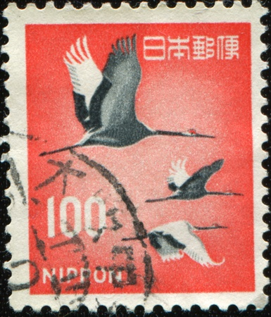postmail: JAPAN - CIRCA 1962: A stamp printed in Japan shows Red-crowned Crane - Grus japonensis, circa 1962