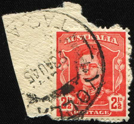 AUSTRALIA - CIRCA 1945: An Australian Used Postage Stamp showing King George VI, circa 1945 Stock Photo - 8776943
