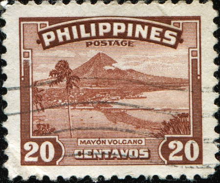 PHILIPPINES - CIRCA 1947: A stamp printed in Philippines shows Mayon Volcano, circa  1947 photo