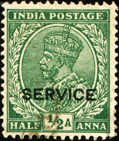 indian postal stamp: INDIA - CIRCA 1923: A stamp printed in India shows  King George V of the UK, series, circa 1923  Editorial