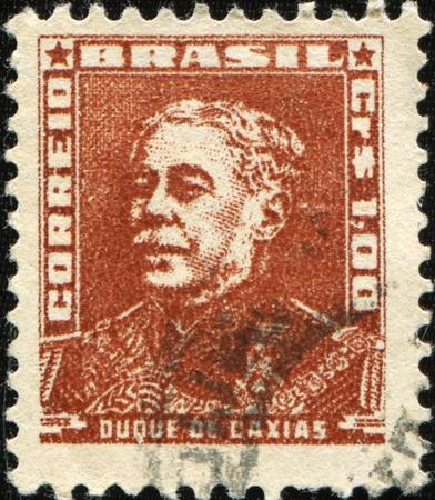 statesman: Brasile - CIRCA 1954-1963: un timbro stampato in Brasile mostra Duque de Caxias - capo militare e statista, intorno al 1954-1963