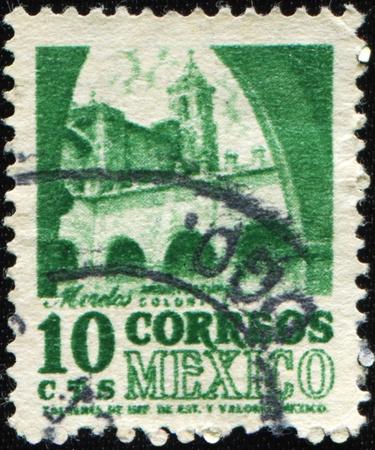 morelos: MEXICO - CIRCA 1967: A stamp printed in Mexico shows building in Morelos, series colonial architecture, circa 1967