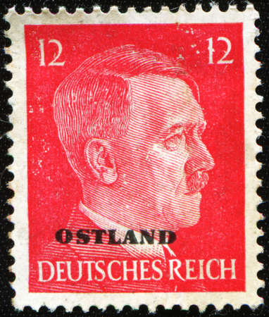 GERMANY - CIRCA 1941: A Stamp printed in GERMANY shows the portrait of a Adolf Hitler (1889-1945), series, circa 1941