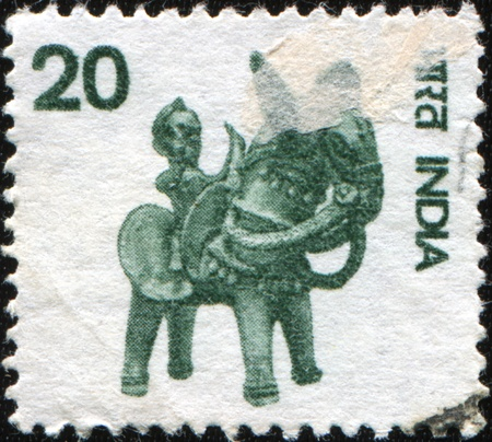 INDIA - CIRCA 1974: A stamp prunted in India sshows terracotta toy Rider on horseback, circa 1974 Stock Photo - 8877926