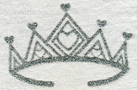 five-way crown - picture silver printed on the fabric for little princess photo